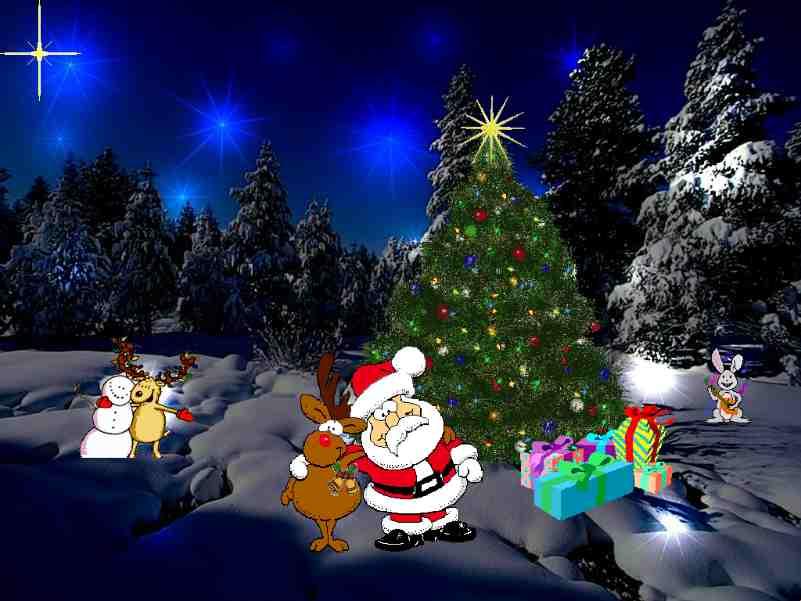 Pere Noel Avec Animaux Père Noël Avec Des Animaux